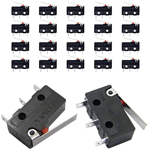 QY 20PCS Sub Micro Limit Switch Lever Arm SPDT Snap Action 5A 125 250VAC 3 Terminals Momentary Switch