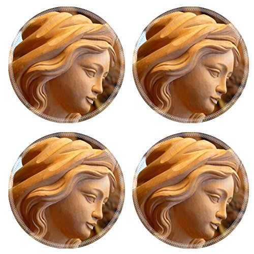 MSD Round Coasters Free stock photo Fig Girl Woman Madonna Face Natural Rubber Material Image 698