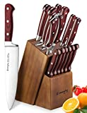 Knife Set, Wooden Handle 15-Piece Kitchen Knife Set with Block Wooden, Manual Sharpening for Chef Knife Set, German Stainless Steel, Emojoy (15 Piece Knife Set)