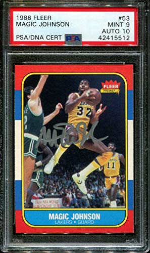 - 1986 Fleer #53 Magic Johnson Lakers Hof Signed Auto 10 9 - PSA/DNA Certified - Basketball Autographed Cards
