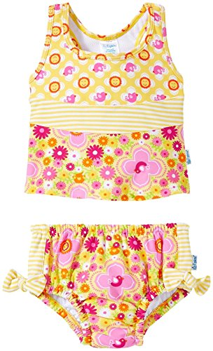 i play. Baby Girls' Bow Tankini Swimsuit with Swim Diaper, Fiesta Floral, 24 Months