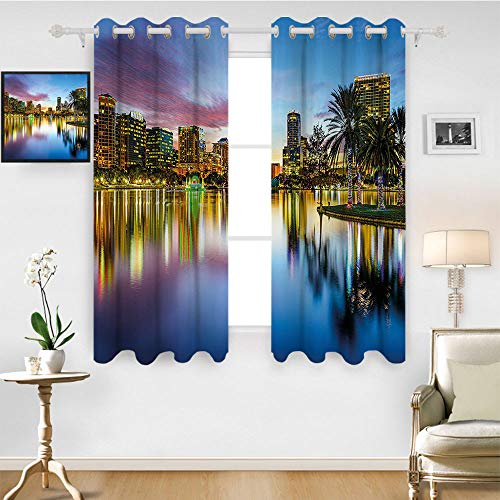 SATVSHOP Thermal Insulating Blackout Curtain - 108W x 84L Inch- Patterned Drape for Glass Door.Modern Famous USA Urban Downtown View of Orlando Florida EOLA Lake omantic Scene Blue -