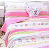 FADFAY Full Size Kids Cartoon Owl Comforter Sets Childrens Quilted Bedding Set Cute Animals Cotton Quilted Bedspread 3Pcs