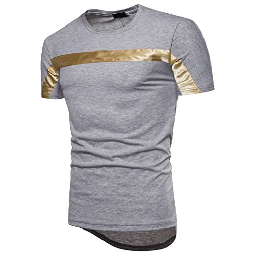 Bluestercool Fashion Hommes Top Manches Courtes Patchwork Casual T-Shirts Gris