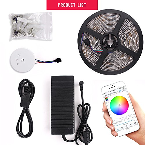 sanwo WiFi Wireless Smart Phone Control Light Strip Kit, 32.8ft 600LEDS 5050RGB Waterproof IP65 LED Lights, Support for Android 、iOS and Alexa (WiFi Control) by sanwo