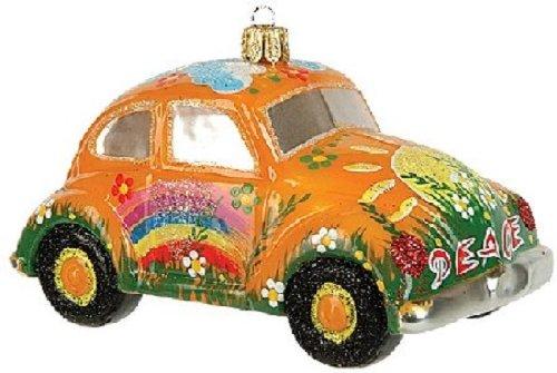 (Pinnacle Peak Trading Company Yellow Hippie Car VW Bug Polish Glass Christmas Ornament Made Poland Decoration)