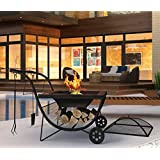 Portable Fire Pit with BBQ Rack and Fireguard in Black
