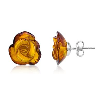 Honey Baltic Amber Rose Studs with sterling silver back finding. Comes with lovely gift box. mFTbE