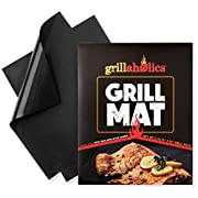 Amazon Lightning Deal 87% claimed: Grillaholics Grill Mat - Set of 2 Nonstick BBQ Grilling Mats - 15.75 x 13-Inch