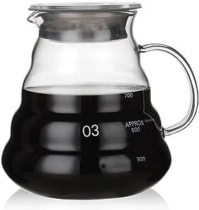 Heat Resistant Glass Hand Drip Coffee Pot Coffee Server Kettle Coffee Maker Teapot (600ml) (800ml)