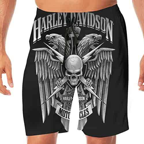 ab60395600c2b REBELN Men's Harley Davidson Logo Mens Summer Swim Trunks Quick Dry Funny  Beach Board Shorts Casual