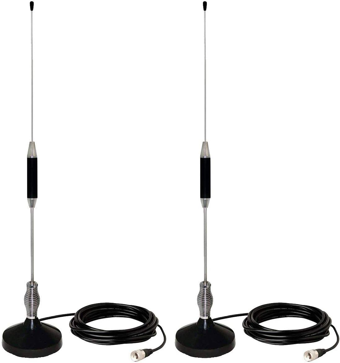 CB Antenna 28 inch for CB Radio 27 Mhz,Portable Indoor/Outdoor Antenna Full Kit with Heavy Duty Magnet Mount Mobile/Car Radio Antenna Compatible with Midland Cobra Uniden Anytone by LUITON(2 Pack)