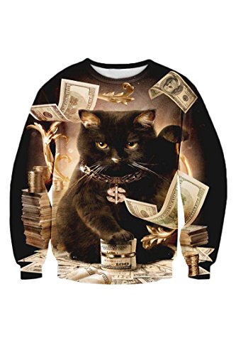 Cutiefox Spring Winter Digital Print Pullovers Sweatshirts,Cat,Medium