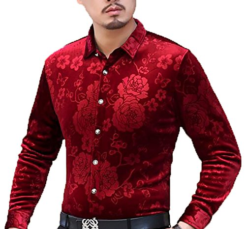 Down Slim UK Button Mens today Sleeve Print Shirt Fit Velvet Long 8 Dress dzqYRndAxZ