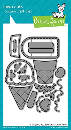 Lawn Fawn Lawn Cuts Custom Craft Die - LF1713 I Scream, You Scream - Ice Cream Cone Die Cuts