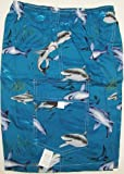 Boy's Shorts - Sharks Elastic Waistband Inside Drawcord Cotton Flap Pocket Shorts in Teal - 2