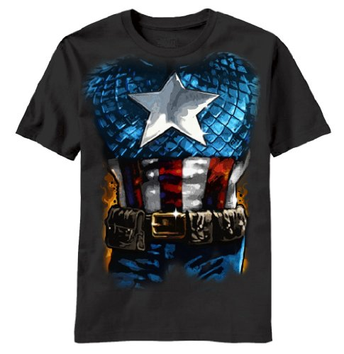 Captain America The American Way Costume Black Adult T-shirt Tee (Large)