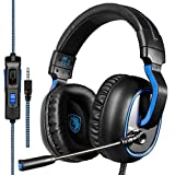 GW Sades R4 Stereo Gaming Headset for PS4, PC, Xbox One, Noise Cancelling Over Ear Headphones with Mic, LED Light, Volume Control, Bass Surround for Laptop Mac iPad Smartphones(Black&Blue)