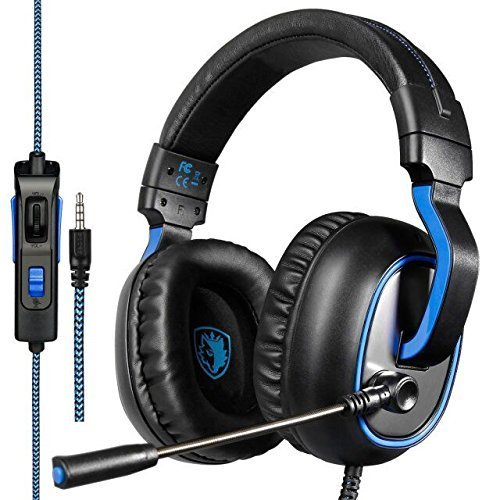 SADES R4 Gaming Headset 3.5mm Wired Over-ear Headphones with Mic Noise Isolating Volume Control for PC Mac Xbox One PS4 Computer Game(Black) Microsoft Bluetooth Mic