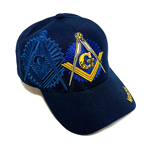 Snapking Navy Blue And Gold Freemason Mason Hat Masonic Lodge Ball Baseball Cap