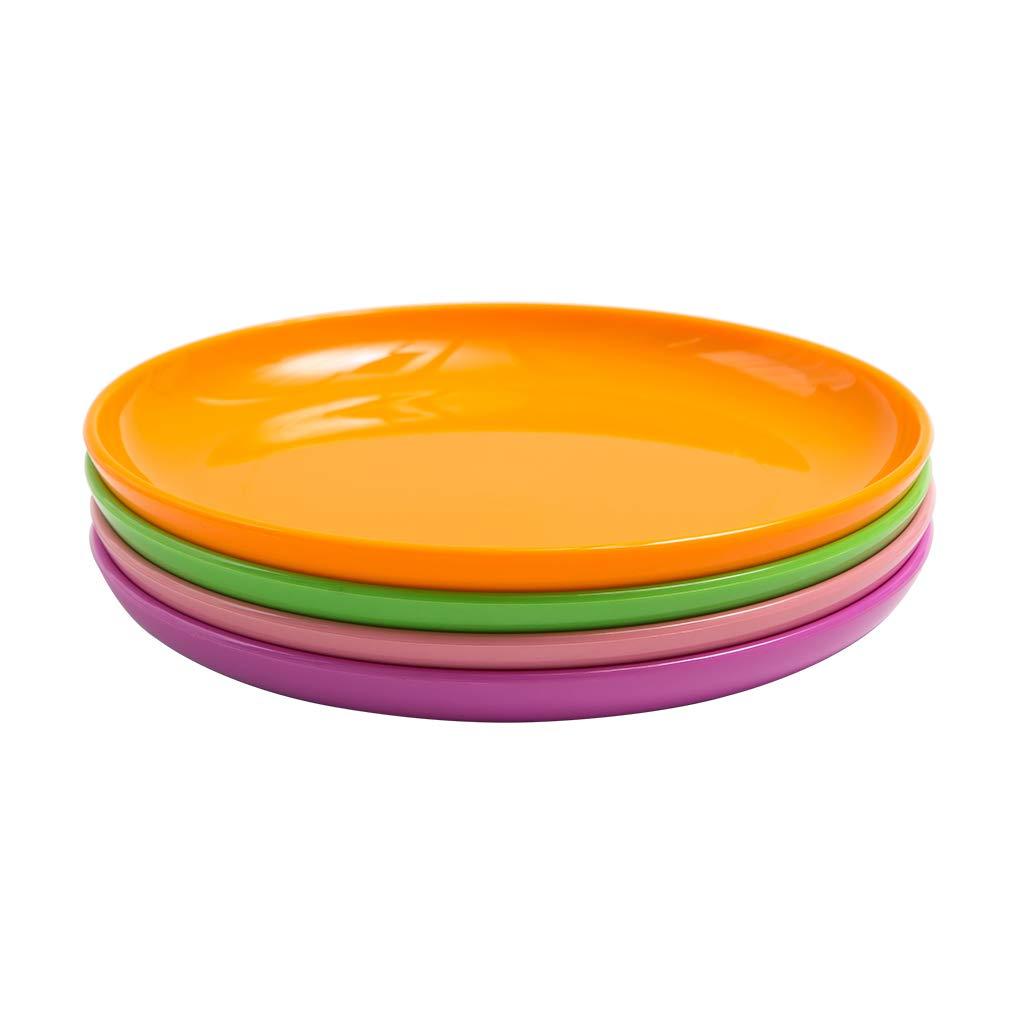 BPA Free Tritan Plastic Dessert Plates Dishwasher Safe MICHLEY 4-Piece Dinner Plate Set Multicolor