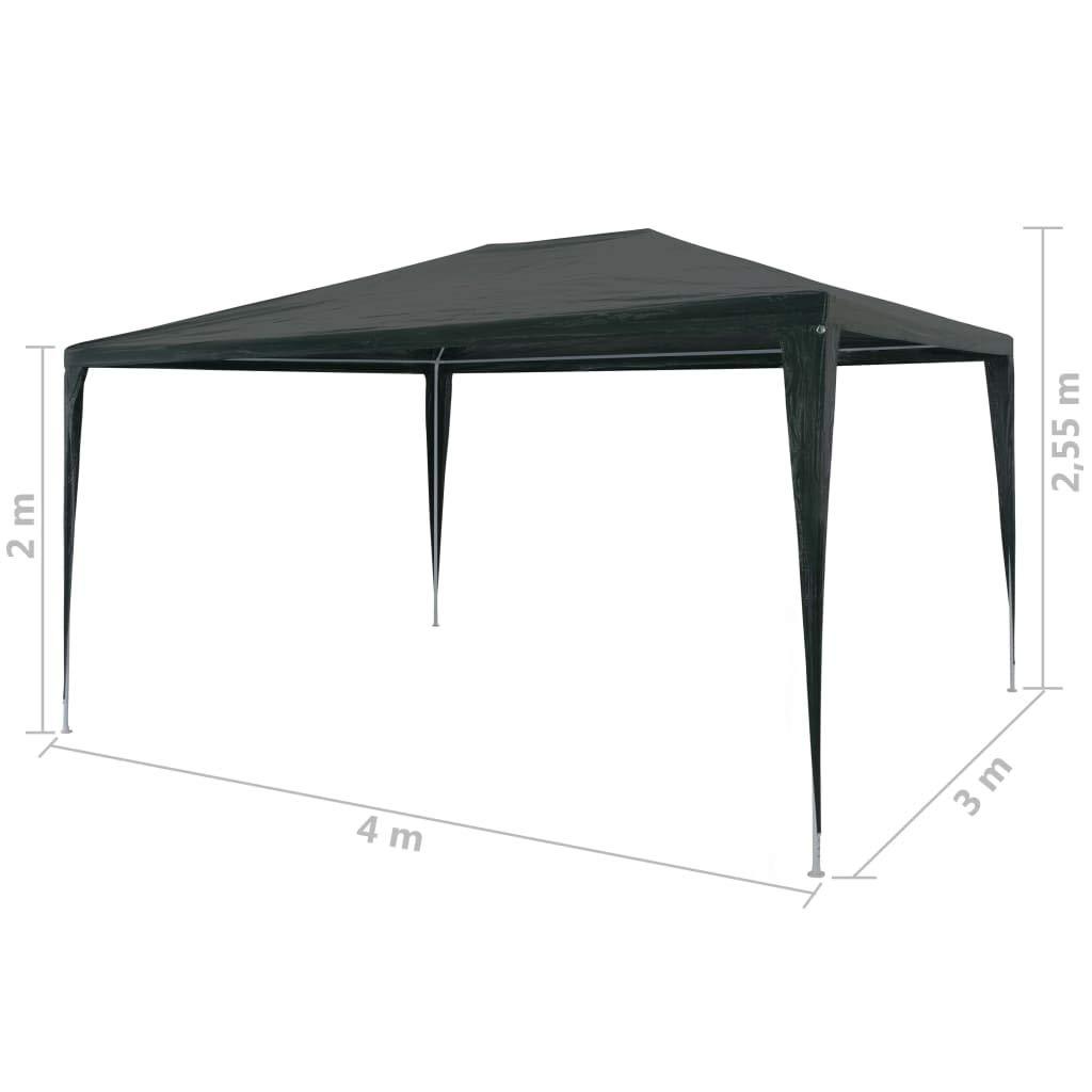mewmewcat Tenda Gazebo Aperto da Giardino Esterno Impermeabile Tendone per Feste in PE 3x4 m Verde