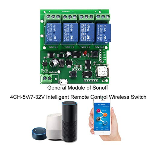 m·kvfa General Module of Sonoff 4CH-5V/7-32V Intelligent Remote Control Wireless Switch For Light Electric Kettle Cooker Electric Curtain