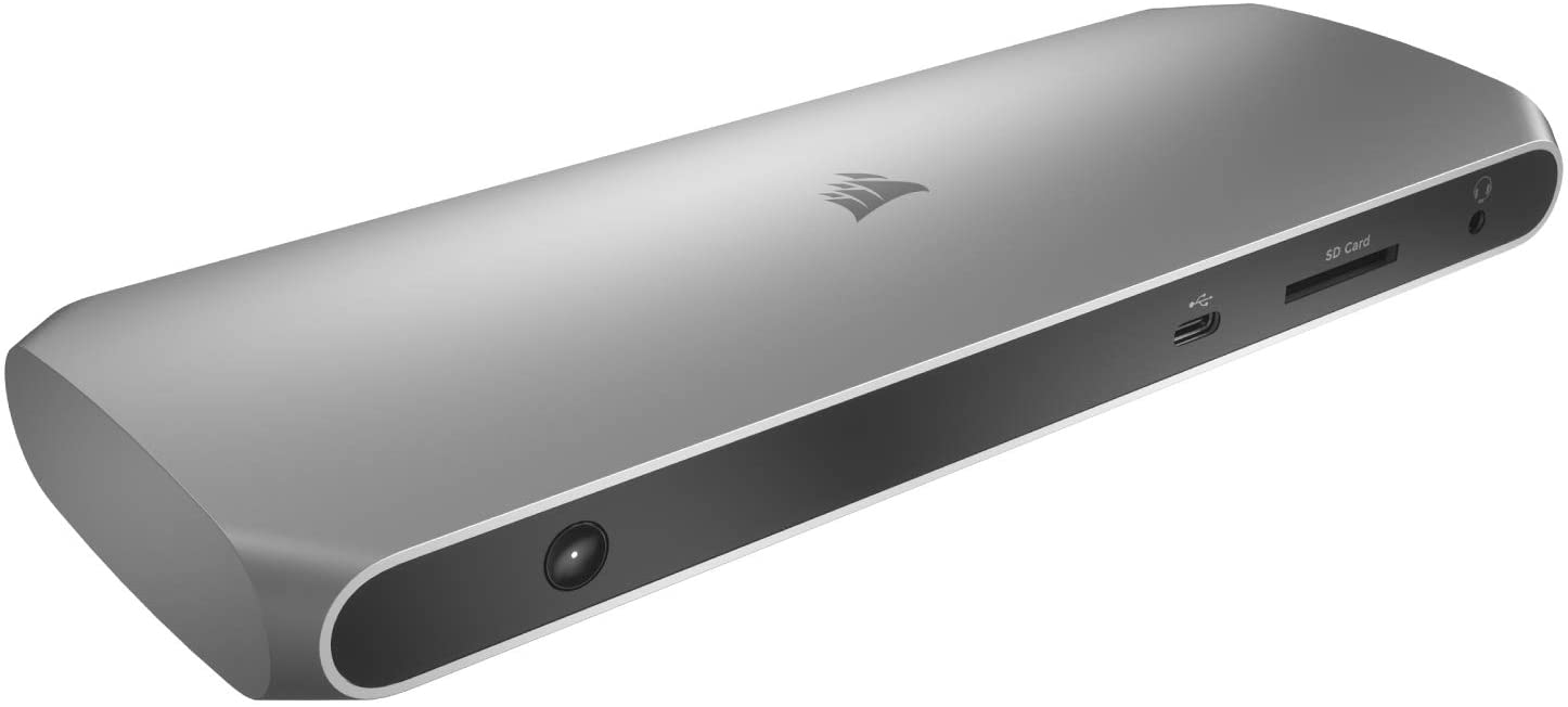 Corsair TBT100 Thunderbolt 3 Dock – 85W Charging, Dual 4k 60Hz Support, 2X HDMI, 40Gb/s ,USB-C Gen 2 (15W) x2, USB-A 3.1 (7.5W) x2, Gigabit Ethernet – for Mac and PC laptops