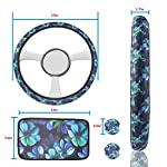 GES 4Pcs Univeral Car Accessories,Cute Car Coasters,Steering Wheel Cover, Car hand pad,Car Accessories Set for Girls and…