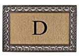A1 Home Collections Rubber and Coir Classic Paisley Border, Double Doormat, Monogrammed D, X-Large