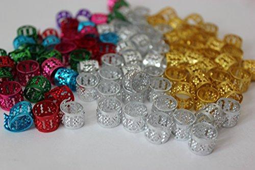 Free 48PC Dreadlocks Beads Aluminum Cuffs Hair Decoration Filigree Tube