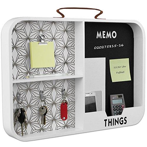 Memoboard mit Schreibtafel, Schlüsselhaken und Klammer, 50x35x5,5cm, Holz Memotafel Memowand Memohalter für Büro Flur Diele Weiß