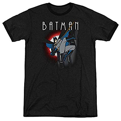 Batman The Animated Series Moonlight Mens Adult Heather Ringer Shirt Black 2X