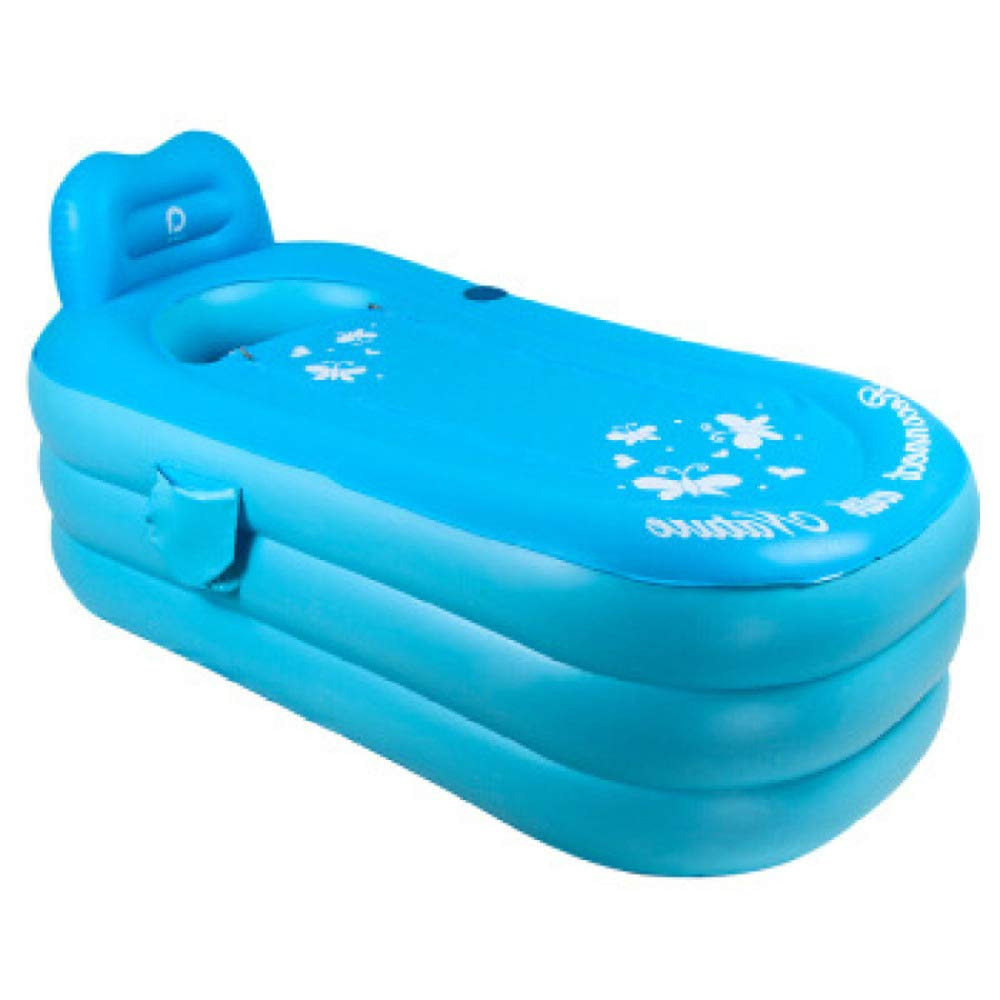 WU LAI Aufblasbare Badewanne | Tragbare Badewanne | Badewanne Fü r Erwachsene | PVC-Faltbadewanne | Home Pool | Aufblasbarer Pool Fü r Kinder, Blue-130x80x70cm doune