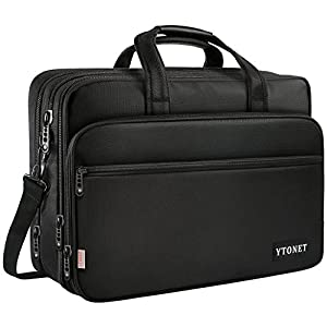 17 inch Laptop Bag, Travel Briefcase with Organizer, Expandable Large Hybrid Shoulder Bag, Water Resisatant Business Messenger Briefcases for Men and Women Fits 15.6 Inch Laptop, Computer, Tablet