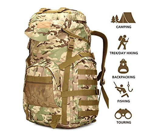 70L Military Tactical Backpack Large Army 3 Day Assault Pack Molle Backpacks Rucksacks for Outdoor Hiking Camping Trekking Hunting (Camouflage1)