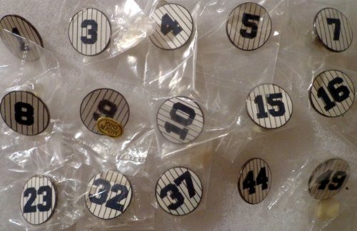 Vintage NY New York Yankees Retired Number PINSTRIPES CIRCLES Hat Lapel Baseball Pins Set of 15 with #1 Billy Martin, #3 Babe Ruth, #4 Lou Gehrig, #5 Joe Dimaggio, #7 Mickey Mantle, #8 Yogi Berra Babe Ruth Numbers