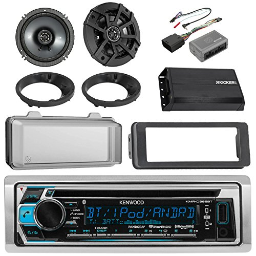 Kenwood Bluetooth CD AM/FM Marine Stereo, 2x Kicker 600W 6-1/2