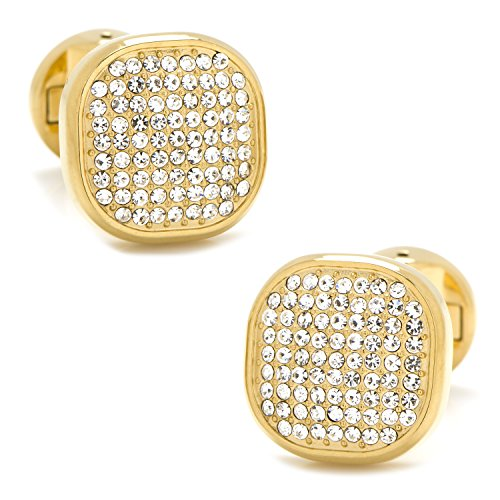 Gold Pave Cufflinks - Ox and Bull Trading Co. Gold Stainless Steel White Pave Crystal Cufflinks