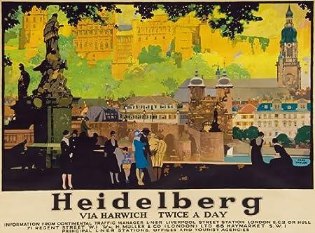 TT81 Vintage Heidelberg Via Harwich Railway Travel Poster A3 A2 Re-print