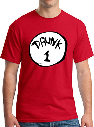 Drunk One Shirt Funny Drinking Tshirt Drinking Team 1 Red XL