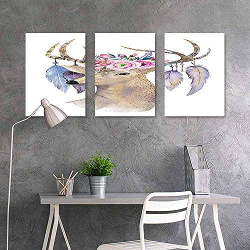 BDDLS Graffiti Canvas Painting Sticker,Watercolour Deer Head A for Your Relatives and Friends 3 Panels,16x31inchx3pcs Flowers Arrows and Feathers