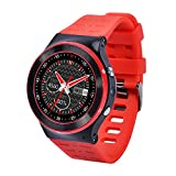 SEPVER ZGPAX S99 smartwatch Android phone Full round IPS screen Android 5.1 3G Network MTK6580 Quad Core smart watch Heart rate monitor Camera Blueooth GPS WiFi Pedometer Support SIM card (Red)
