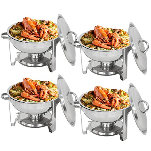 ZenChef Deluxe 5 Qt Stainless Steel Round Chafer, Full Size Chafer, Chafing Dish w/Water Pan, Food Pan, Lid, Frame And Alcohol Furnace (Pack of 4)