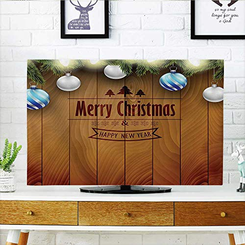 (Auraisehome TV dust Cover Collection Wooden Setting with Bright Silver Balls Fairy Lights and Pine Twigs Best TV dust Cover W20 x H40 INCH/TV 40