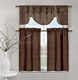 Duck River Textiles VIKCO=12/2689 1 Piece/2 Piece Videira Leaf Emb Kitchen Curtain, 60″x20″/30″x36″, Chocolate Review