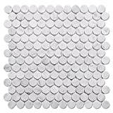 Diflart Italian White Carrara Marble Mosaic Tile Polished, 5 Sheets/Box (1'' Penny Round)