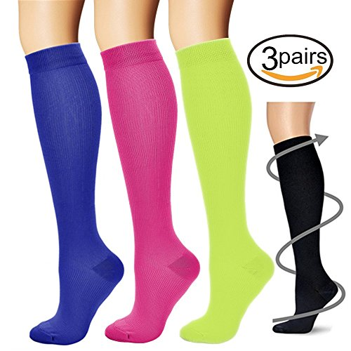 BLUETREE Compression Socks,(3 pairs) Compression Sock for Women & Men,Best Medical, Nursing, for Running, Athletic, Edema, Varicose Veins. ¡­