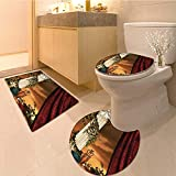 MikiDa 3 Piece Extended bath mat set Greek Style Scene Climber Pillow Fruits Vine and Red Curtain 3 Piece Toilet Cover set