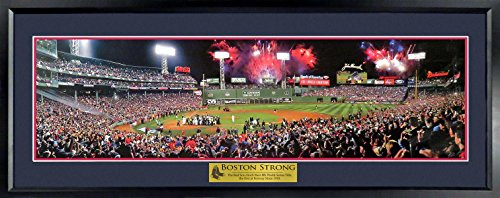 """Boston Red Sox Fenway Park 2013 World Series Champions Panoramic (Deluxe with """"Boston Strong"""" Plate) Framed"""